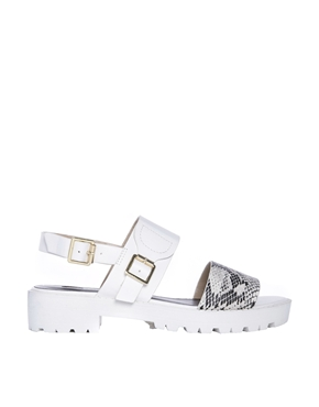 River Island | River Island Paul White Pool Slider Strap Sandals at ASOS