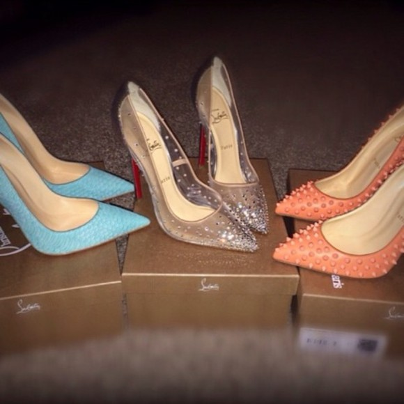 shoes blue high heels sparkly high heels pink high heels pointed toe spiked shoes