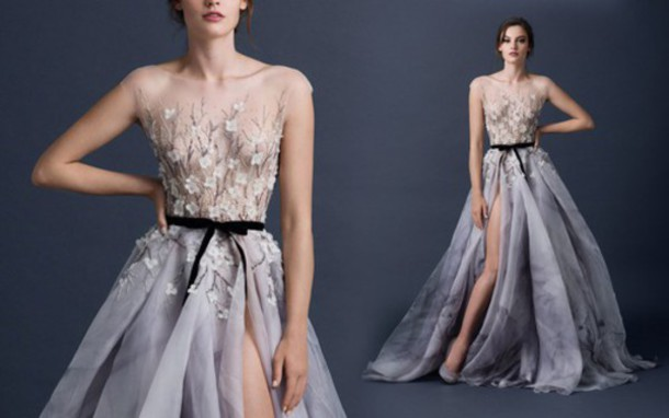 dress flowers long dress prom gown prom dress