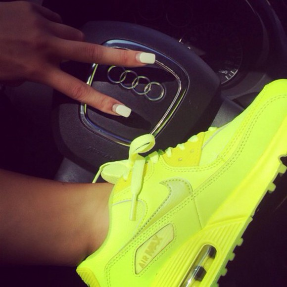 shoes neon yellow air max nike running shoes
