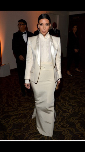 jacket kim kardashian paris fashion haute couture trendsetter trends 2014 all white everything kimye kardashians blazer mermaid prom dress dope giorgio armani