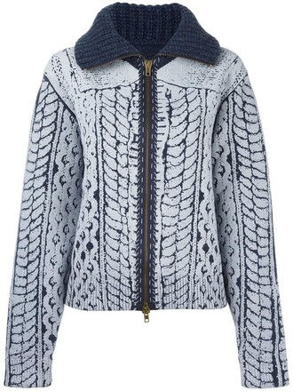 cardigan knit women blue wool sweater