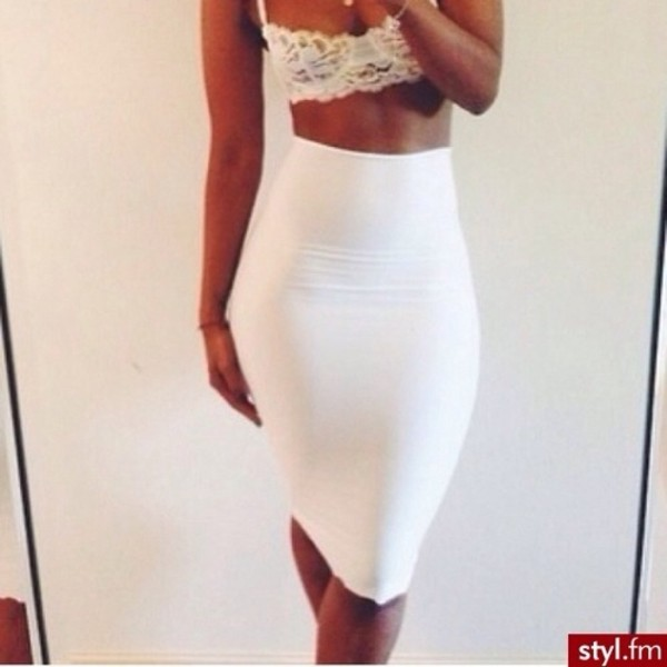 skirt white skirt tank top pencil skirt