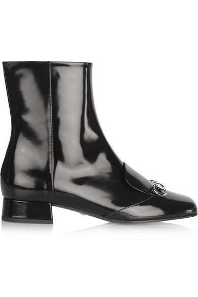 Gucci | Horsebit-detailed patent-leather ankle boots | NET-A-PORTER.COM