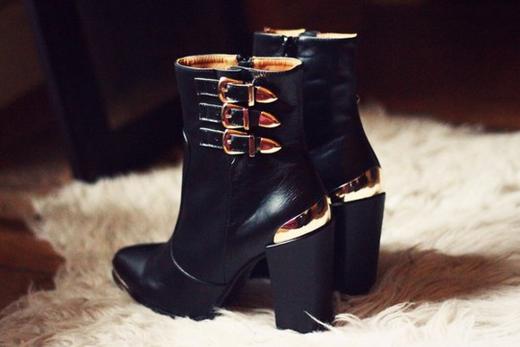 shoes black low boots boots leather leather black boots gold