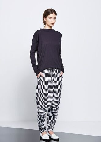 top striped pants sweatpants blue top white loafers fair trade sustainable fashion organic cotton drawstring pants