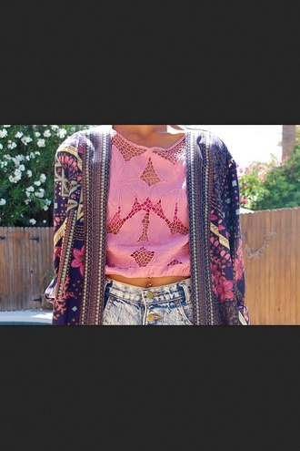 t-shirt lace pink flowers crop tops embrodering embroidered see through summer jacket