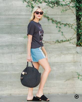 shoes tumblr mules slide shoes tote bag round tote bag t-shirt black t-shirt skirt mini skirt denim denim skirt sunglasses