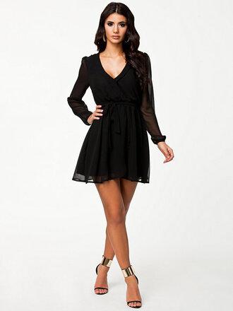 dress black dress chiffon long sleeves v neck dress wrapped dress