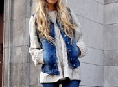 jacket,jeans,denim jacket,sweater,knitwear,oversized sweater,shirt,outfit,knitted sweater,oatmeal,white,denim,coat