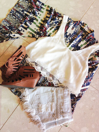 cardigan crop tops kimono sandal heels high waisted shorts top