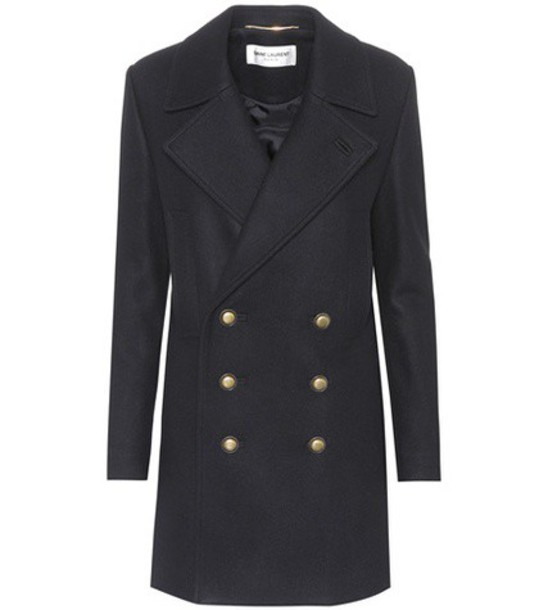 Saint Laurent coat pea coat wool black