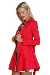 red trench coat,red coat,bow back jacket,fitted jacket,stretch cotton jacket,trench coat,www.ustrendy.com
