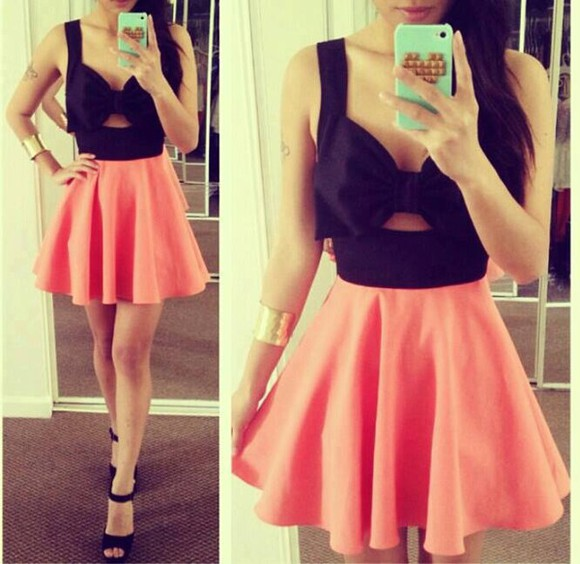 iphone dress black cute pink phonecase girl fashion outfit pretty perfect skater dress bow coral dress love it