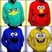blouse,red,blue shirt,jacket,perry the platapus,spongebob,elmo,cookie monster,hoodie