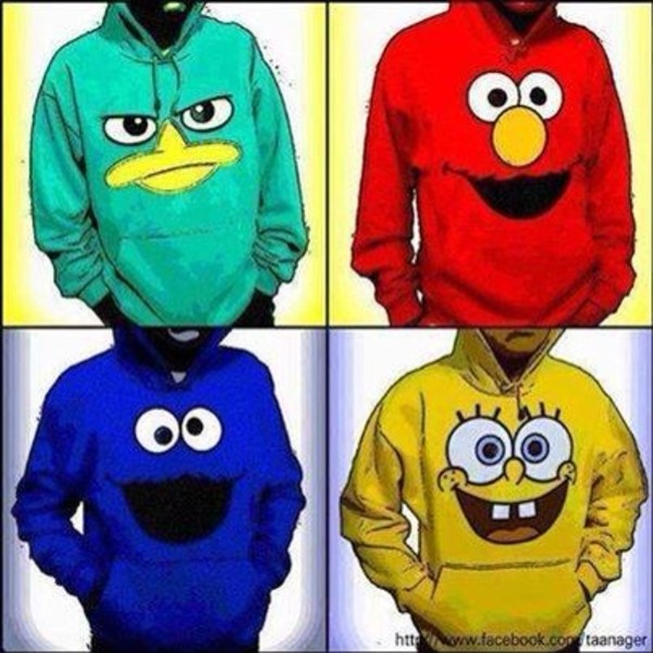 blouse red blue shirt jacket perry the platapus spongebob elmo cookie monster hoodie spongebob