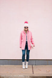 bows&sequins,blogger,shoes,jeans,tights,skirt,dress,t-shirt,jacket,fall outfits,beanie,pom pom beanie,pink coat,ankle boots,clutch