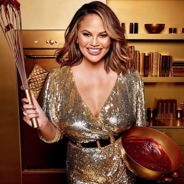 dress plunge dress plunge neckline gold gold sequins chrissy teigen model wrap dress