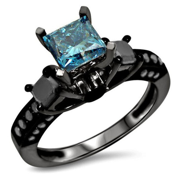Jewels 3 Stone Engagement Ring Blue Sapphire Ring Black And Blue Diamond Ring Black Gold Plated Silver Ring Black Engagement Ring Black Diamond Engagement Ring Wheretoget