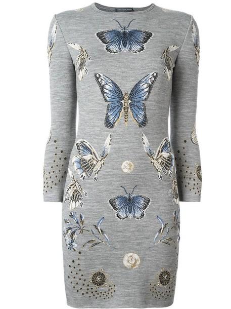 Alexander Mcqueen dress knit metallic women butterfly jacquard silk grey