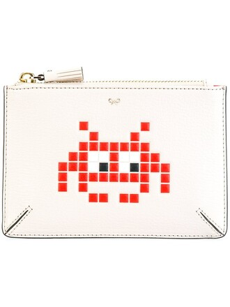 zip space purse white bag