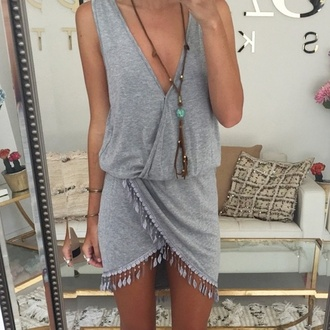 dress grey boho hippie fringe cotton summer triangle neckline sportswear