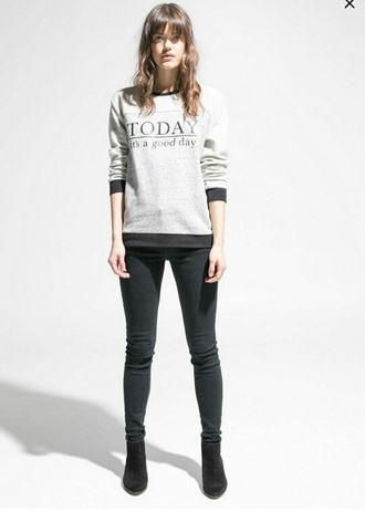 top jumper black black jeans black shoes slogan top