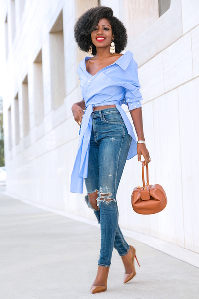 blogger shirt jeans bag shoes blue shirt pumps high heel pumps