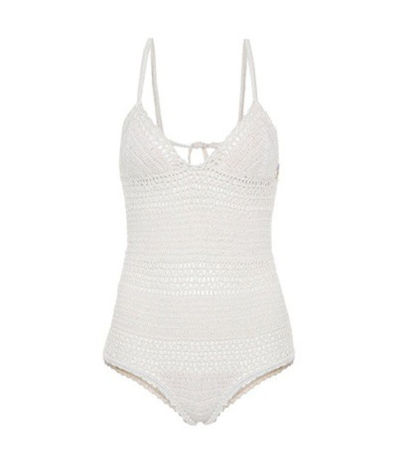 She Made Me Crochet-knit one-piece swimsuit in white