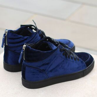 shoes maniere de voir sneakers trainers virtue velvet mid top midnight blue zip