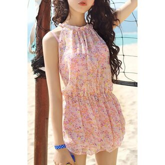 romper rose wholesale girly pastel hipster boho summer beach pretty summer dress
