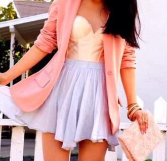 skirt purple purple skirt pink pink blazer pink purse pink bag pastel pastel pink