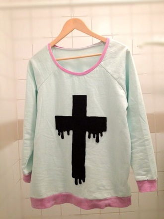 sweater cross pastel goth been and pink pink mint