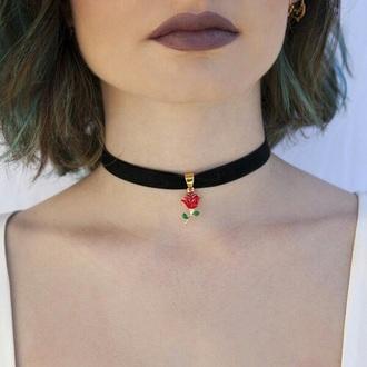 jewels choker necklace ribbon choker rose flowers