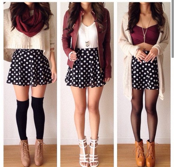 skirt cardigan polka dot skirt burgundy skirt sweater shirt jacket socks shoes want it all cute outfits crop tops brown high heels similar burgandy top t-shirt