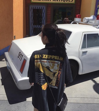 t-shirt black oversized japanese rock band led zeppelin oversized t-shirt