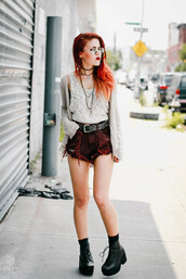 le happy,top,shoes,blogger,round sunglasses,ripped shorts,shorts,boots,platform shoes,black boots,choker necklace,grunge,goth hipster,burgundy,jewels,jewelry,necklace,black choker,layered,grunge jewelry,luanna perez,cardigan