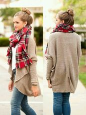 scarf,tumblr,cardigan,girly,pretty,bun,sweater,where do u get this scarf,plaid,plaidscarf,adorablescarf