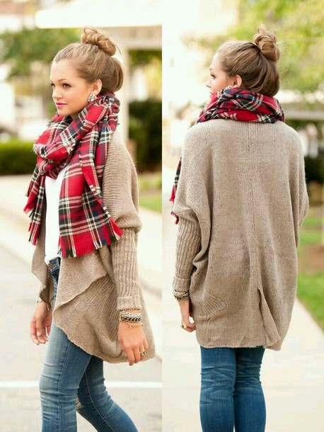 scarf tumblr cardigan girly pretty bun sweater where do u get this scarf plaid plaidscarf adorablescarf