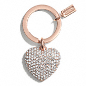 Coach :: PAVE ROSE GOLD HEART KEY RING