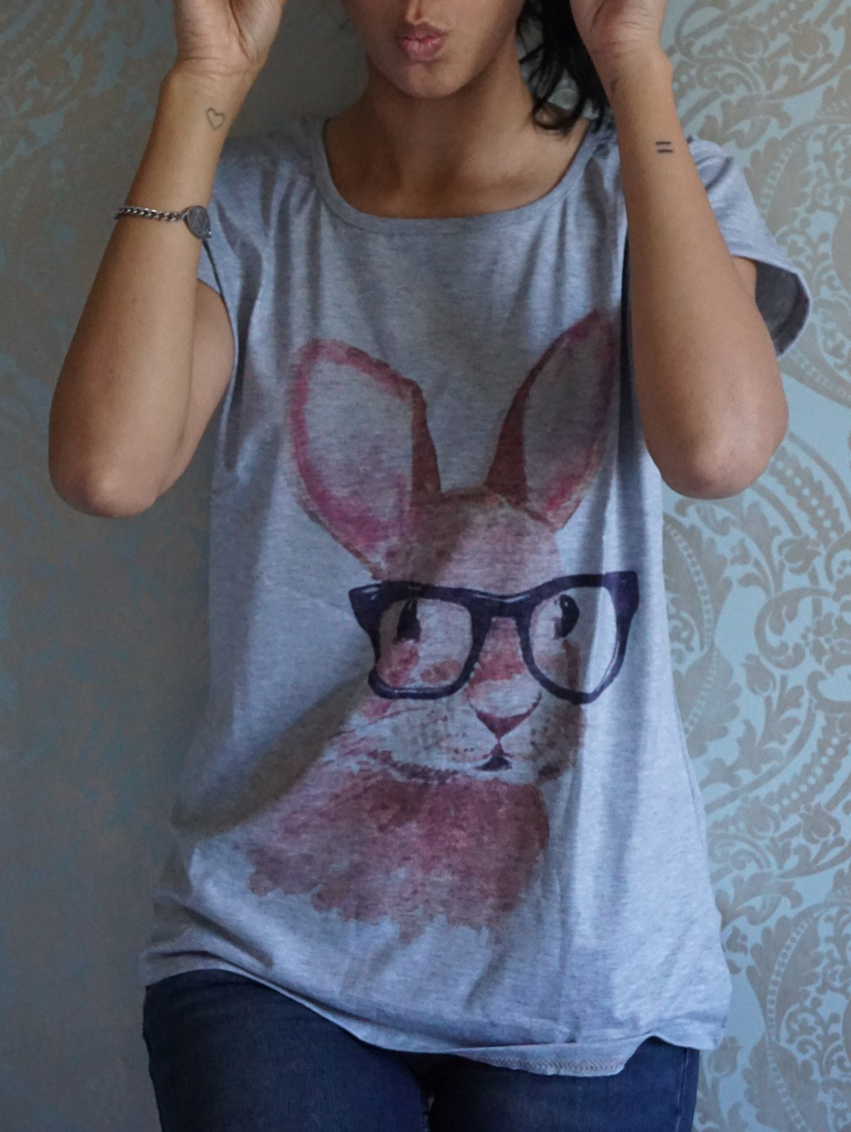 Casual Scoop Neck Rabbit In Glasses Pattern Short Sleeves T-shirt For Women