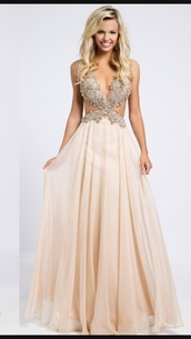 dress,cream prom dress,prom dress,evening dress,long prom dress,cream,prom,prom gown,pink prom dress,chiffon side cutout dress