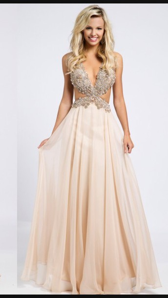 dress cream prom dress prom dress evening dress long prom dress cream prom prom gown pink prom dress chiffon side cutout dress