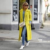 coat,tumblr,yellow,yellow coat,long coat,jeans,denim,boots,white boots,bag,white bag,sunglasses
