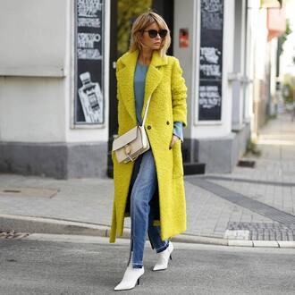 coat tumblr yellow yellow coat long coat jeans denim boots white boots bag white bag sunglasses