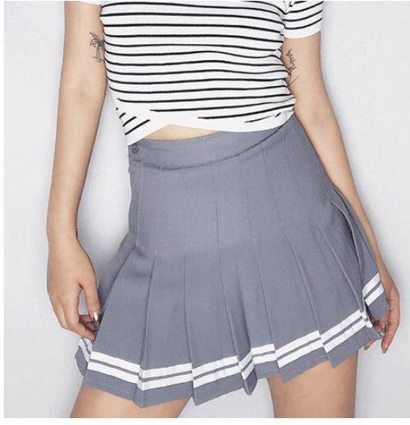 skirt girly grey pleated pleated skirt white tennis skirt