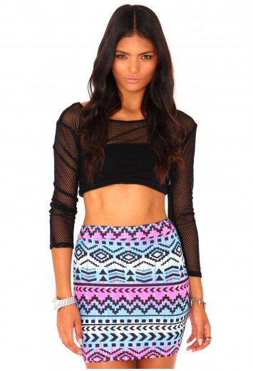 Lionilde aztec bodycon mini skirt