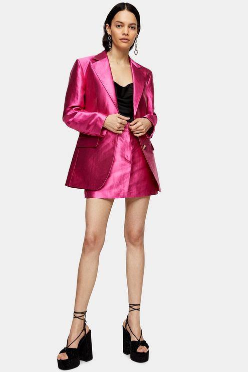 Pink Satin Single Breasted Blazer - Pink