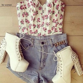 blouse shoes shirt crop tops bustier cute tumblr spike girly shorts