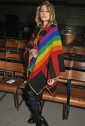 cardigan,paris,fashion week 2018,cashmere poncho,vintage,poncho,rainbow,rainbow poncho,paris jackson,burberry